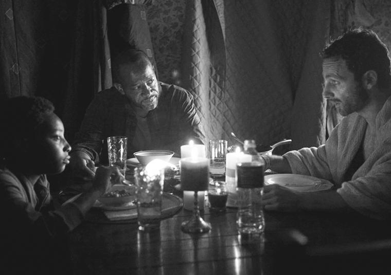 Duane Jones (Adrian Kali Turner), Morgan Jones (Lennie James) and Rick Grimes (Andrew Lincoln) in Episode 1 of The Walking Dead