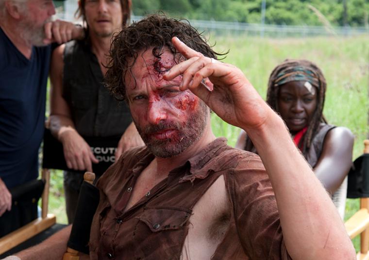 Scott Wilson (Hershel Greene), Norman Reedus (Daryl Dixon), Andrew Lincoln (Rick Grimes), and Danai Gurira (Michonne) in Episode 8 of The Walking Dead