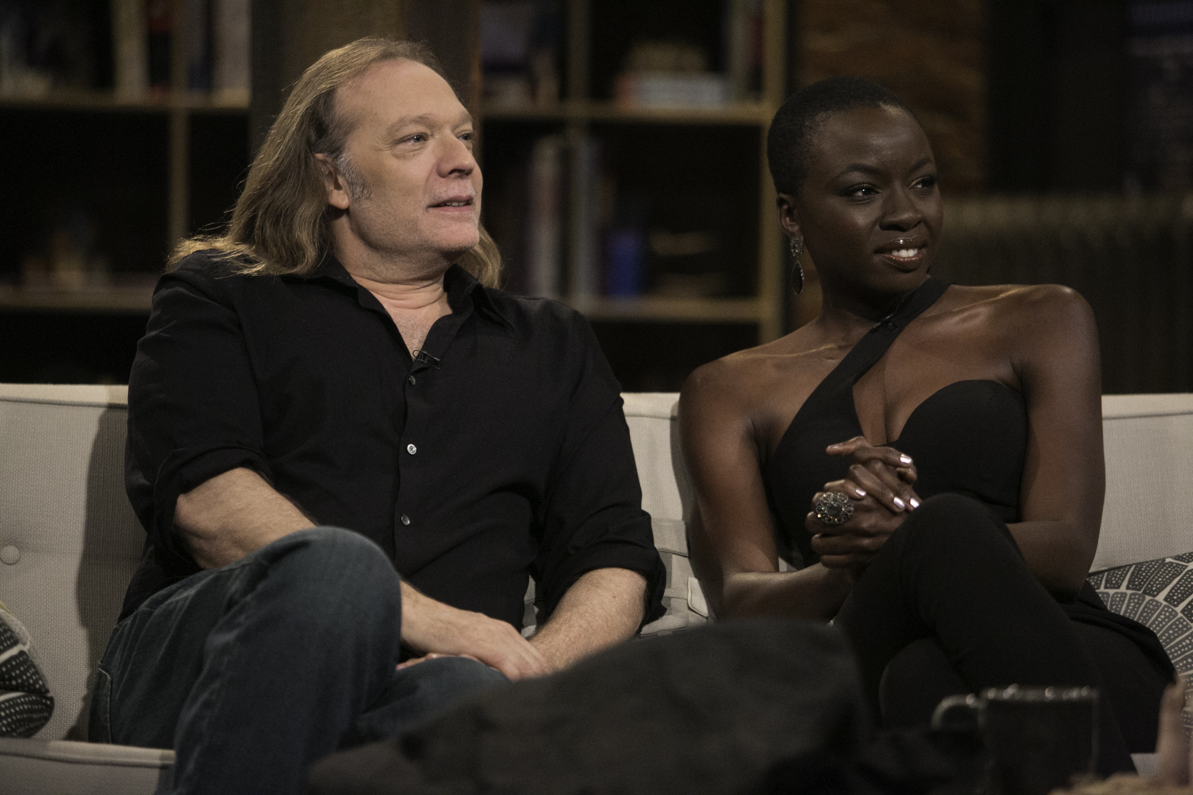 Greg Nicotero (The Walking Dead Executive Producer, Special FX Makeup Designer) and Danai Gurira (Michonne) in Episode 9 of The Talking Dead