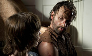Carl Grimes (Chandler Riggs) and Rick Grimes (Andrew Lincoln) - The Walking Dead