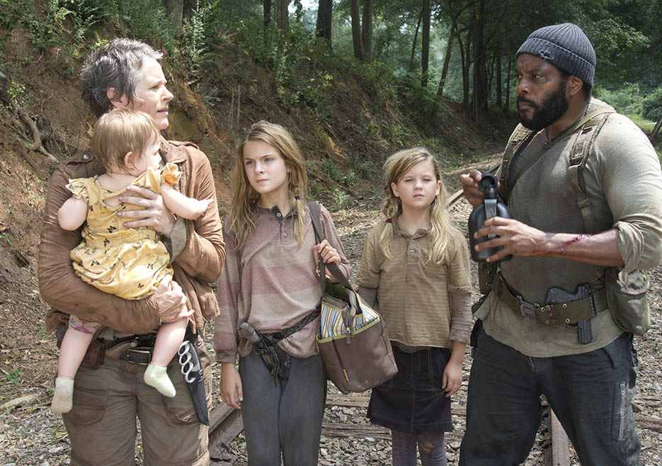 Carol Peletier (Melissa McBride), Lizzie (Brighton Sharbino), Mika (Kyla Kenedy) and Tyreese (Chad L. Coleman) in Episode 10 of The Walking Dead