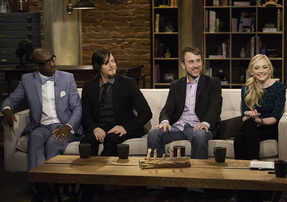 JB Smoove, Norman Reedus (Daryl Dixon), Julius Ramsay (The Walking Dead Season 4 Episode 12 Director) and Emily Kinney (Beth Greene) in Episode 12