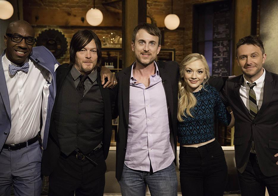 JB Smoove, Norman Reedus (Daryl Dixon), Julius Ramsay (The Walking Dead Season 4 Episode 12 Director), Emily Kinney (Beth Greene) and Chris Hardwick in Episode 12