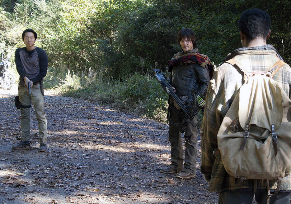 Glenn Rhee (Steven Yeun), Daryl Dixon (Norman Reedus) and Bob Stookey (Lawrence Gilliard Jr.) in Episode 13 of The Walking Dead