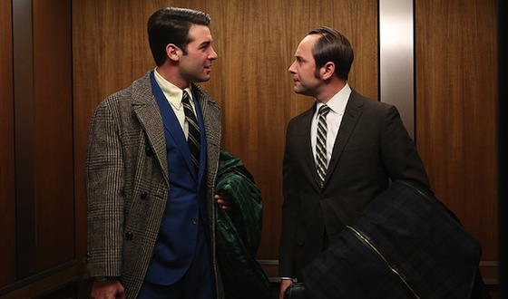 Bob Benson (James Wolk) and Pete Campbell (Vincent Kartheiser) of Mad Men