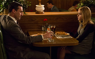 Don Draper (Jon Hamm) and Sally Draper (Kiernan Shipka) in Mad Men