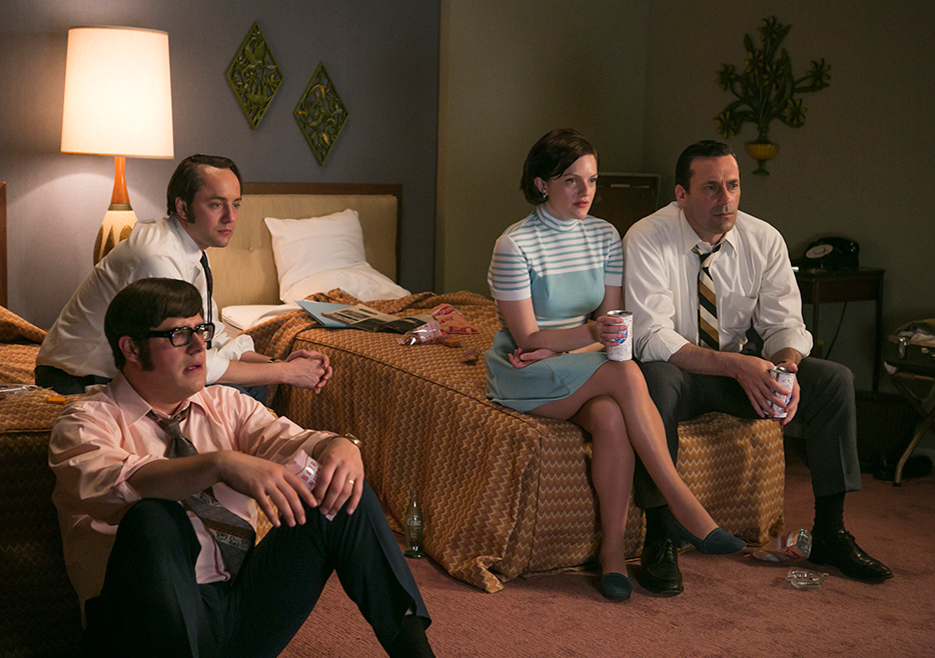 Harry Crane (Rich Sommer), Pete Campbell (Vincent Kartheiser), Peggy Olson (Elisabeth Moss) and Don Draper (Jon Hamm) in Episode 7 of Mad Men