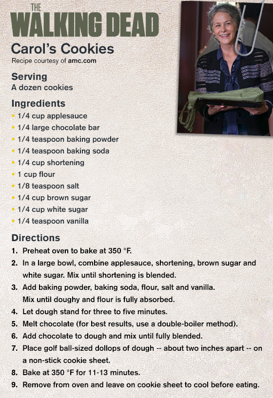 Carol's Cookie Recipe from The Walking Dead Episode Recap