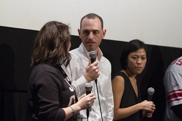 Director Kurt Vincent and Producer Irene Chin answer questions from the audience following the DOC NYC screening of 'The Lost Arcade' (Photo by Lou Aguilar)