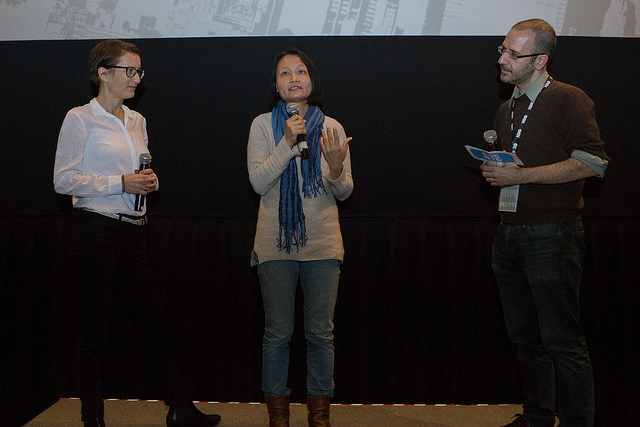 Members of the filmmaking team answer questions from the audience following the DOC NYC screening of The Beekeeper and His Son (Photo by Lou Aguilar)