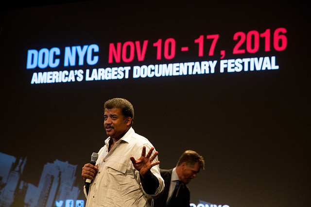 Neil deGrasse Tyson speaks to the audience following the DOC NYC screening of Food Evolution (Photo by Spencer Worthley)