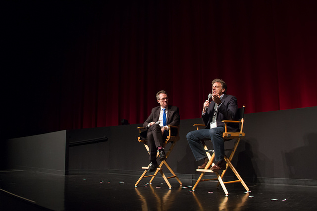 Director John Schienfeld and DOC NYC Artistic Director Thom Powers take questions from the audience following the closing night screening of Chasing Trane (Photo by Igor Myakotin)