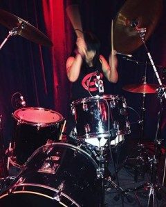 Demetera Plakas of L7 performs following the DOC NYC screening of L7: Pretend We're Dead (Photo by Kate Hoos)