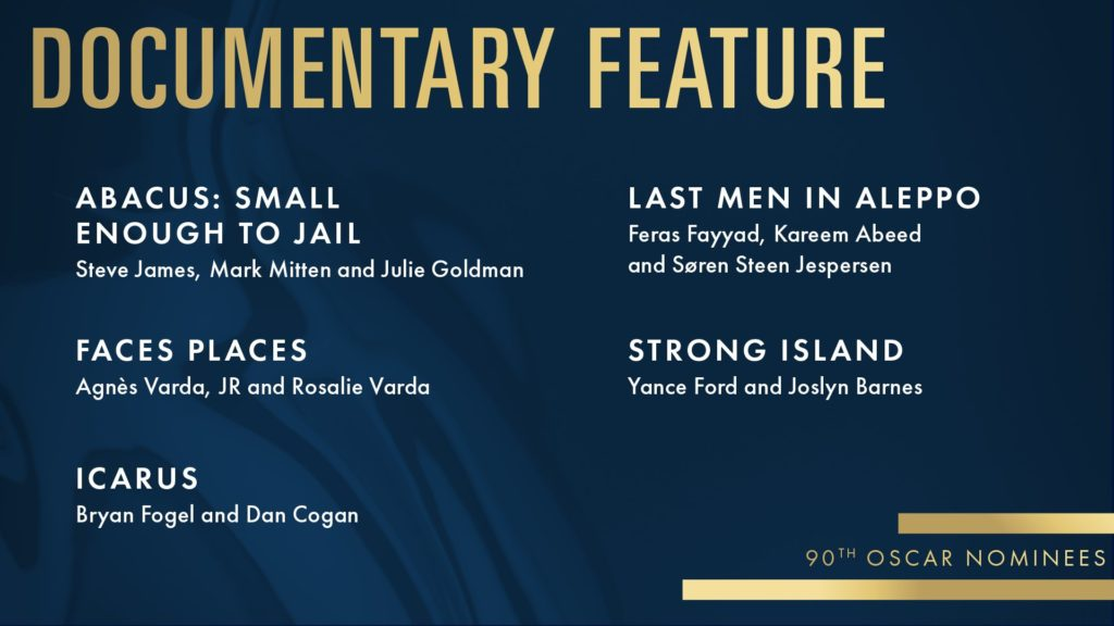 oscar nominated movies of 2017