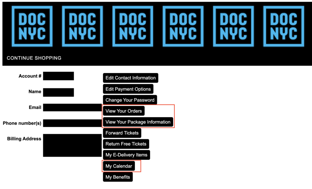 User web account profile view for DOC NYC 2020