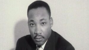 Black & white portrait of Martin Luther King Jr.