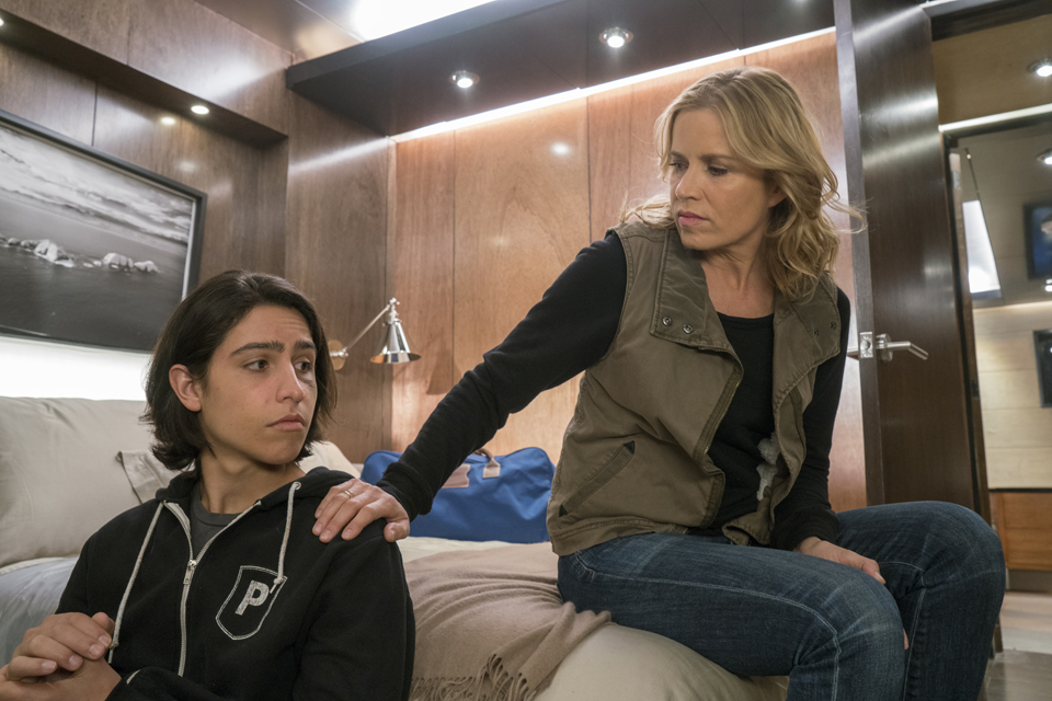 Christopher Manawa (Lorenzo James Henrie) and Madison Clark (Kim Dickens) in Episode 1 Photo by Richard Foreman/AMC