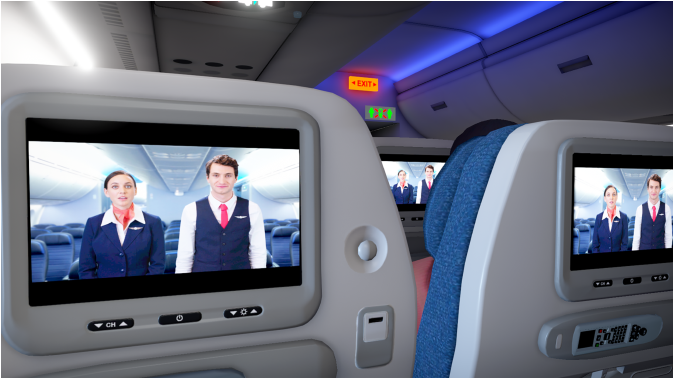 Screenshot from Airplane Mode. The entertainment consoles in three seatbacks are simultaneously playing an inflight safety video featuring a male and female steward.