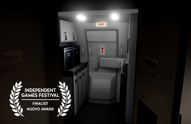 Screenshot from Airplane Mode. A darkened entryway with a view of the airplane's galley kitchen and the emergency exit.