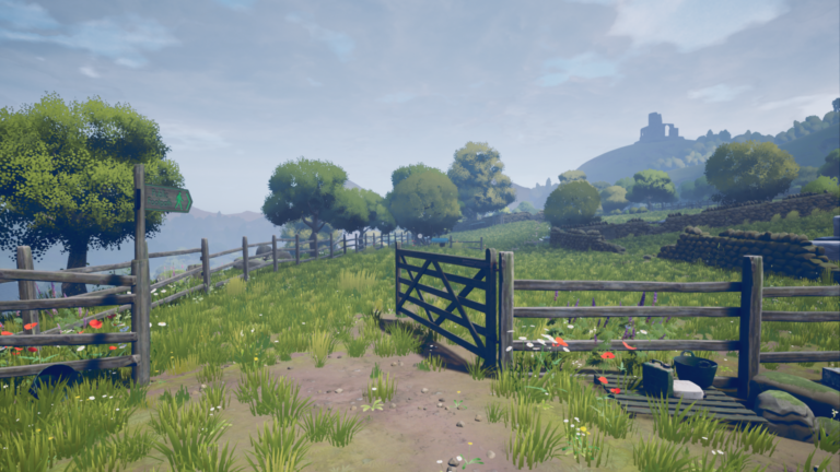 Screenshot from The Magnificent Trufflepigs. A sparse garden path leads to ruins on a distant hillside with an overcast sky.