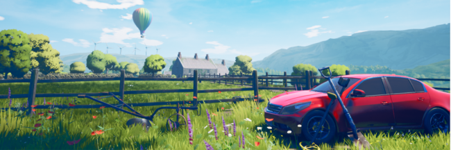 Screenshot from The Magnificent Trufflepigs. Fences intersect a flowery field, with the players shovel and metal detector leaning against Beth's red car in the foreground.
