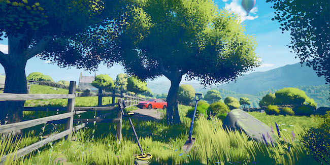 Key art for The Magnificent Trufflepigs. The player's shovel and metal detector stand in the foreground near trees and a country fence, with Beth's red car in the distance.