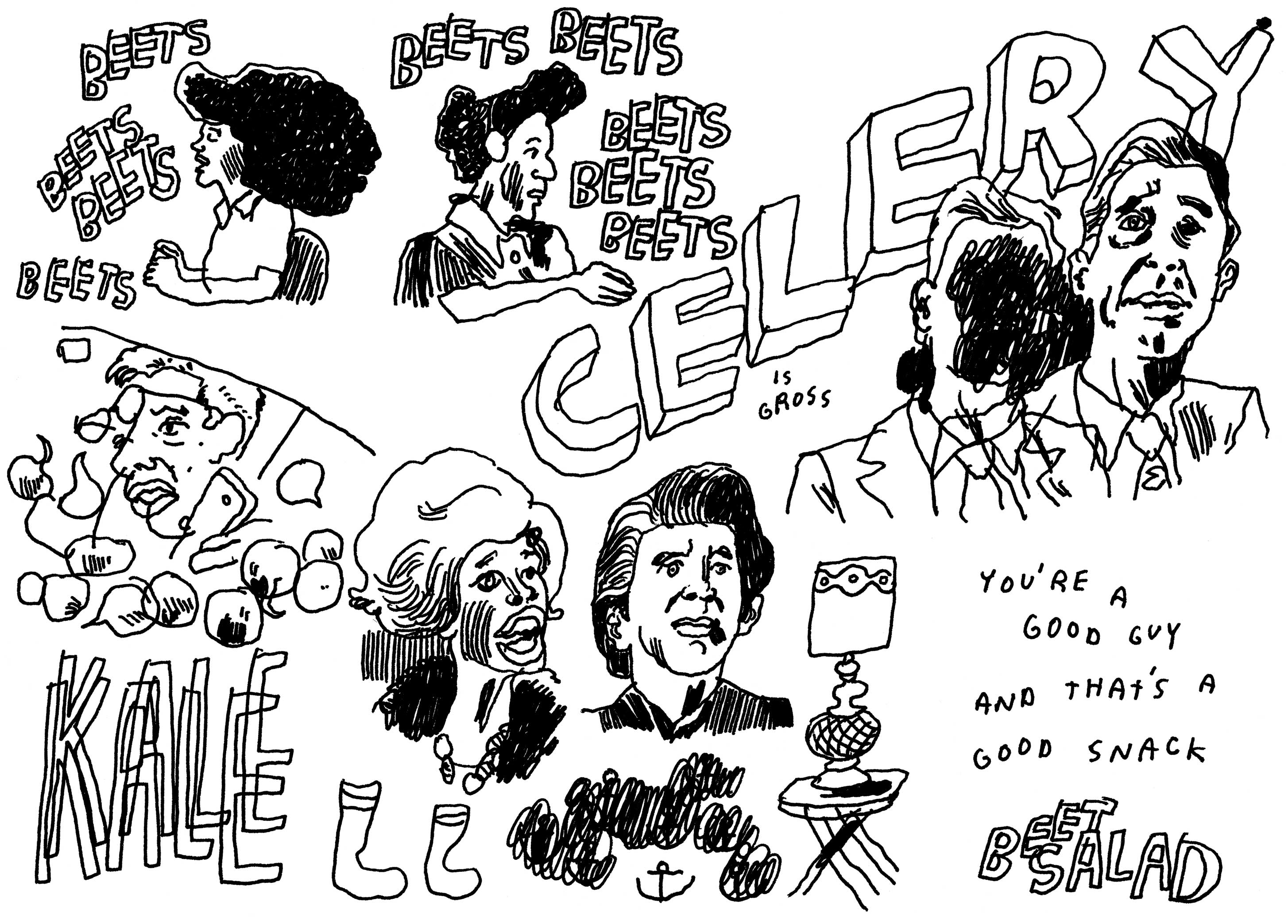 "An illustration of ""The Celery Incident"" - a sketch from Portlandia 403."