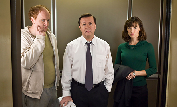 THE INVENTION OF LYING, from left: Louis C.K., Ricky Gervais, Jennifer Garner, 2009. Ph: Sam Urdank/