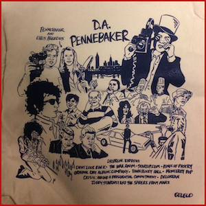 Beige tote bag with blue ink images of D.A. Pennebaker and sketches of a select number of his films with film titles.