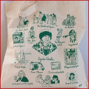 Beige tote bag with green ink images of Agnès Varda and sketches of a select number of her films with film titles.
