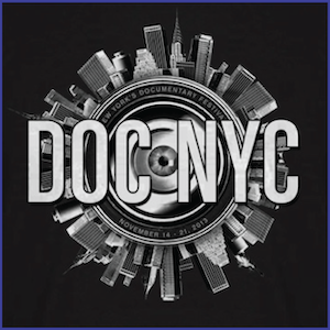 2013 DOC NYC Festival Shirt - image of an eyeball surrounded by a circular city landscape and the text DOC NYC New York's Documentary Festival November 14-21, 2013. White ink on black shirt.