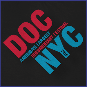 2016 DOC NYC Festival Shirt - red and blue text that says DOC NYC America's Largest Documentary Festivals 2016. Black Shirt.
